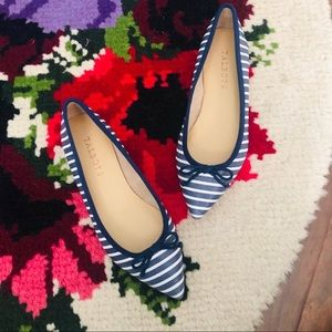Talbots Navy & White Striped Point Toe Ballet Flat